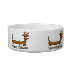 Merry Christmas Dachshund Bowl at Zazzle