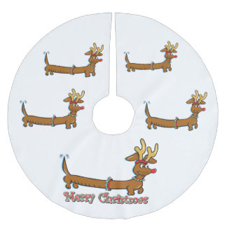 Merry Christmas Dachshund Brushed Polyester Tree Skirt