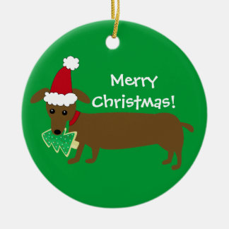 Merry Christmas Dachshund Double-Sided Ceramic Round Christmas Ornament