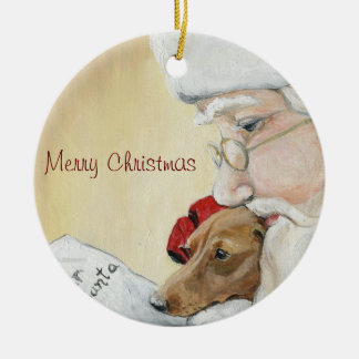 Merry Christmas Dachshund & Santa Art Ornament