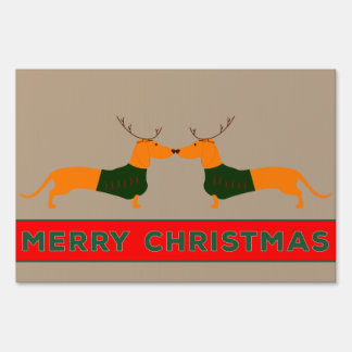 Merry Christmas Dachshund Yard Sign