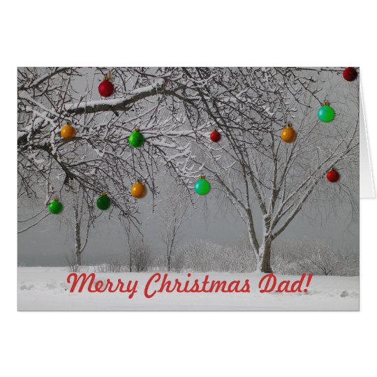 Merry Christmas Dad/Winter Landscape-Cute Card