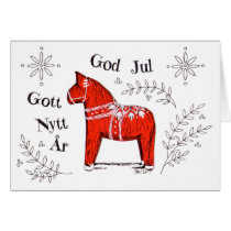 Merry Christmas Dala Horse God Jul Coloring Card