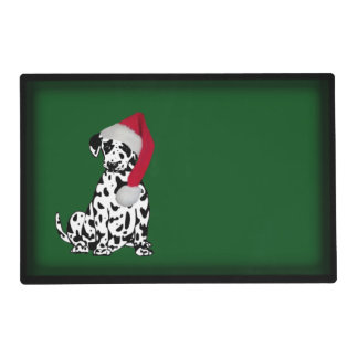 Merry Christmas Dalmatian Dog Green Placemat