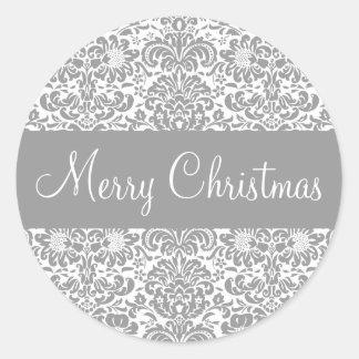 Merry Christmas Damask Envelope Sticker Seal