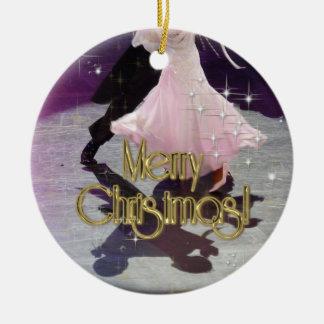 Merry Christmas Dancers Ceramic Ornament