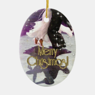 Merry Christmas Dancers Double-Sided Oval Ceramic Christmas Ornament