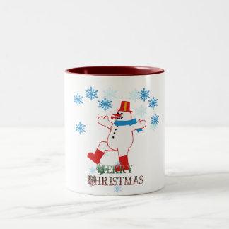 merry christmas dancing snowman mug design