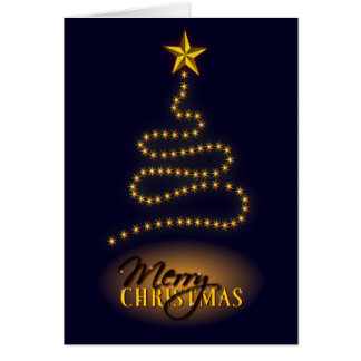 Merry Christmas Dark Blue and Gold Greeting Card