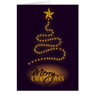Merry Christmas Dark Purple and Gold Greeting Card Greeting Cards