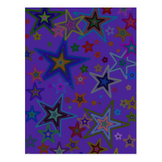 Merry Christmas Dark Purple, Stars Heaven Star Postcard