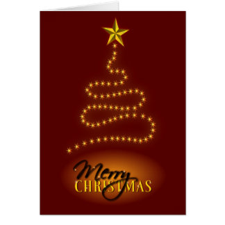 Merry Christmas Dark Red and Gold Greeting Card Cards