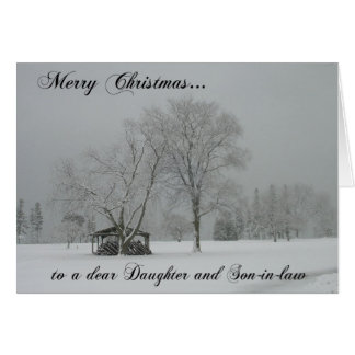 Merry Christmas/daughter and son-in-law/Snowscene Card