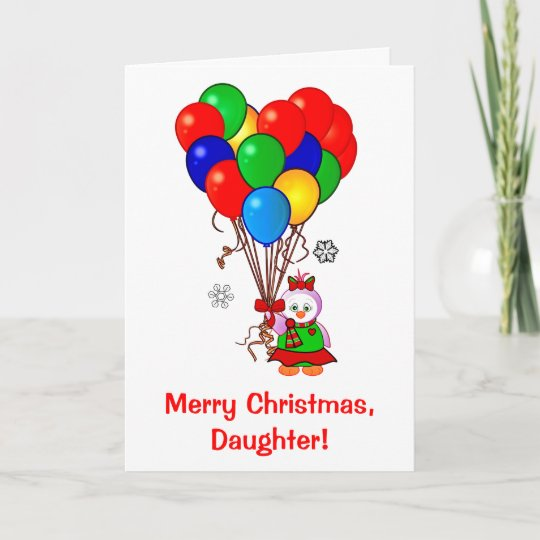 merry christmas daughter penguin with balloons holiday card - Merry Christmas Daughter