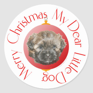 Merry Christmas Dear Little Rescued Dog Classic Round Sticker