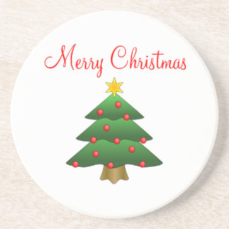 Merry Christmas, decorated Christmas tree coasters