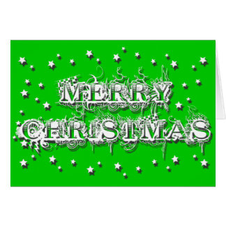 """""""Merry Christmas"""" - Decorated Script Greeting Card"""