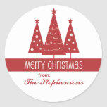 Merry Christmas Decorated Trees Family Greeting Sticker