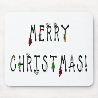 Merry Christmas Decoration Font Mouse Pad