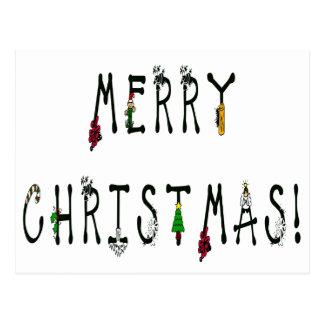 Merry Christmas Decoration Font Postcard