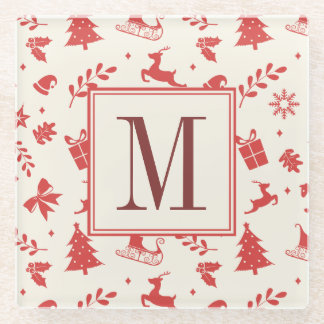 Merry Christmas Decorative Family Monogram Initial Glass Coaster