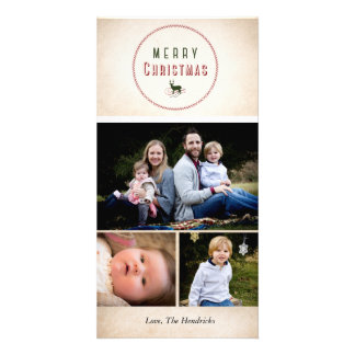 Merry Christmas Deer 4x8  Christmas photo Card