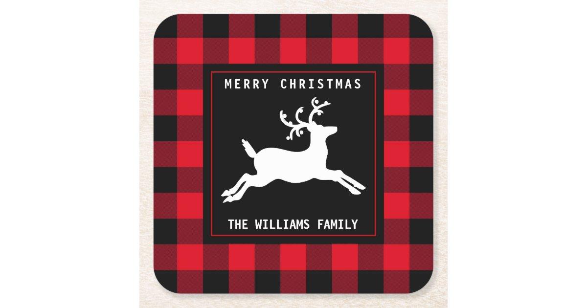 Merry Christmas Deer Black White Buffalo Check Square Paper Coaster   Zazzle.com