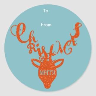 Merry Christmas Deer Gift Tag Sticker - Red