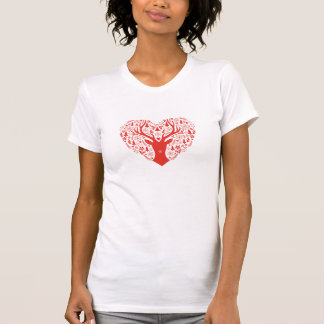 Merry Christmas, deer with red heart T-Shirt