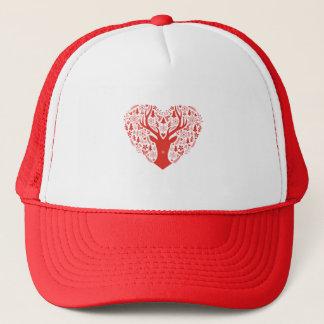 Merry Christmas, deer with red heart Trucker Hat