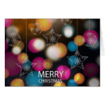 Merry Christmas design with colorful sparkles Card