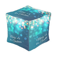Merry Christmas design with sparkles Cube Pouf