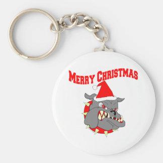Merry Christmas Devil Dog Keychain