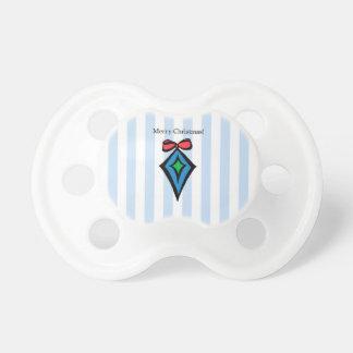 Merry Christmas Diamond Ornament Pacifier Blue