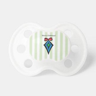 Merry Christmas Diamond Ornament Pacifier Green