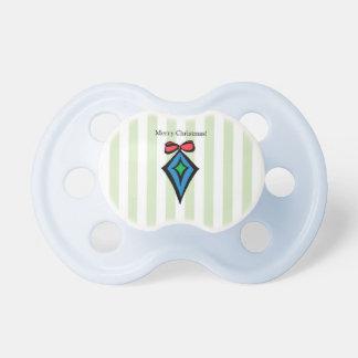 Merry Christmas Diamond Ornament Pacifier Green 2