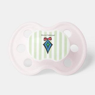 Merry Christmas Diamond Ornament Pacifier Green 3
