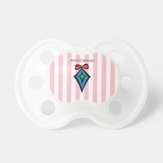 Merry Christmas Diamond Ornament Pacifier Pink