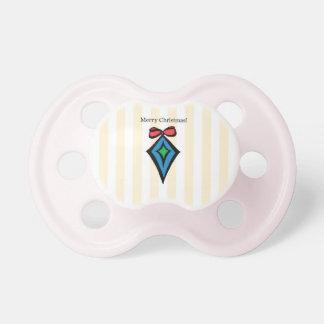 Merry Christmas Diamond Ornament Pacifier Yellow 3