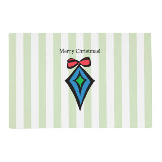 Merry Christmas Diamond Ornament Placemat Green