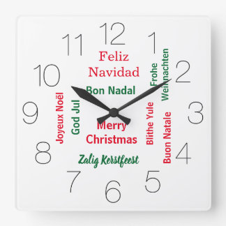 Merry Christmas different languages Square Wall Clock