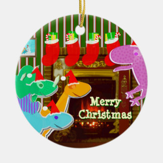 Merry Christmas Dinos Ornament
