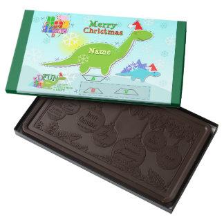 Merry Christmas Dinosaur 3D Cut & Fold Paper Craft 2 Pound Dark Chocolate Bar Box