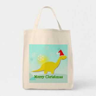 Merry Christmas Dinosaur Yellow Dino Bag/ Tote