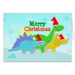 Merry Christmas Dinosaurs Card with Coloring Plate