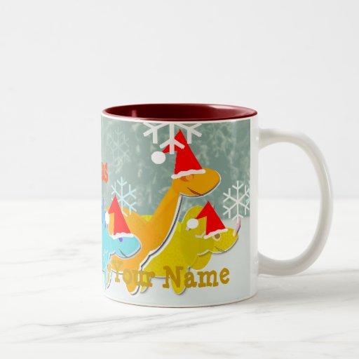 Merry Christmas Dinosaurs Name Mug