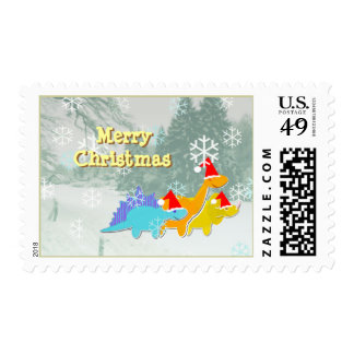 Merry Christmas Dinosaurs Postage Stamps