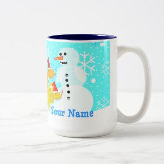 Merry Christmas Dinosaurs & Snowman Name Mug