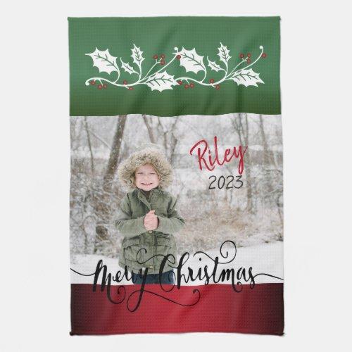 Merry Christmas Diy Photo Hand Towel