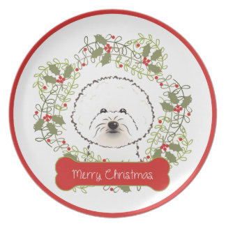 Merry Christmas Dog Breed Collectible Dinner Plate